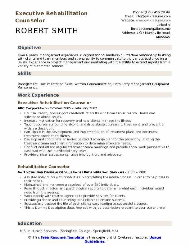 Executive Rehabilitation Counselor Resume Sample