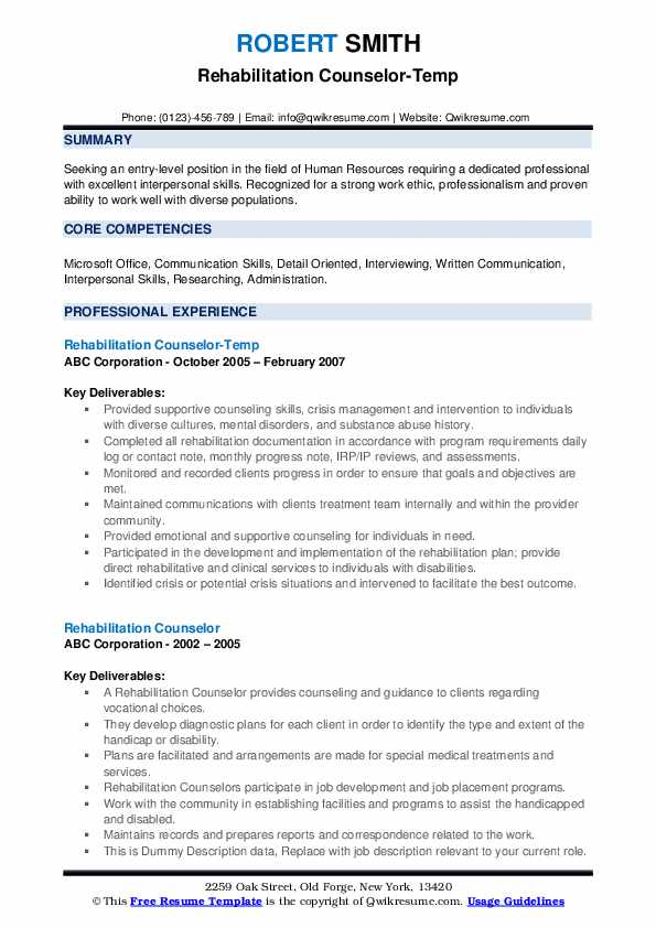 Rehabilitation Counselor-Temp Resume Model