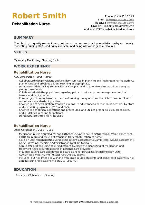 Rehabilitation Nurse Resume example
