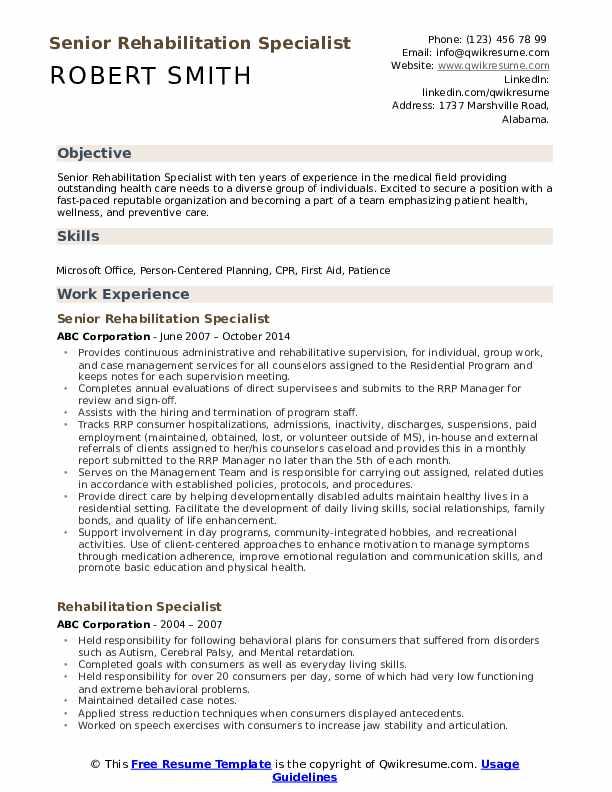 Senior Rehabilitation Specialist Resume Model