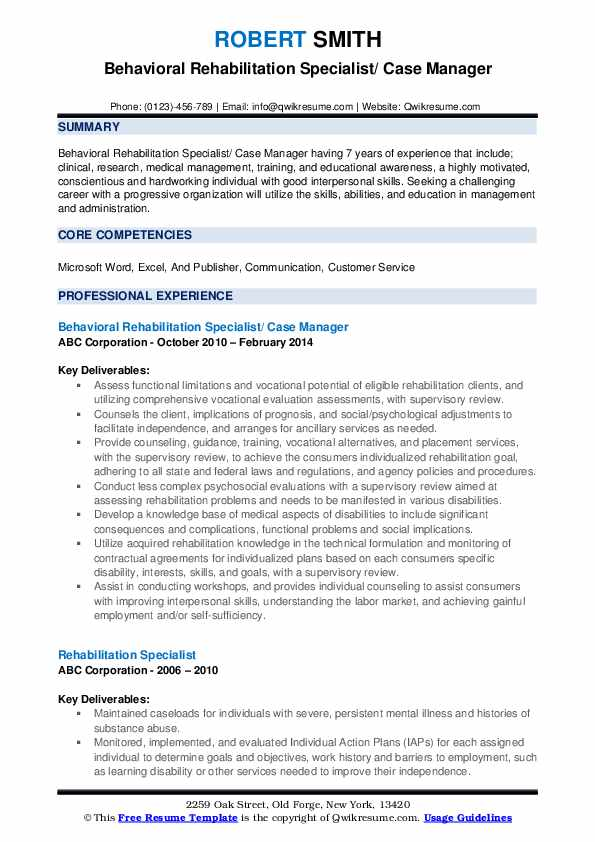 Behavioral Rehabilitation Specialist/ Case Manager Resume Sample