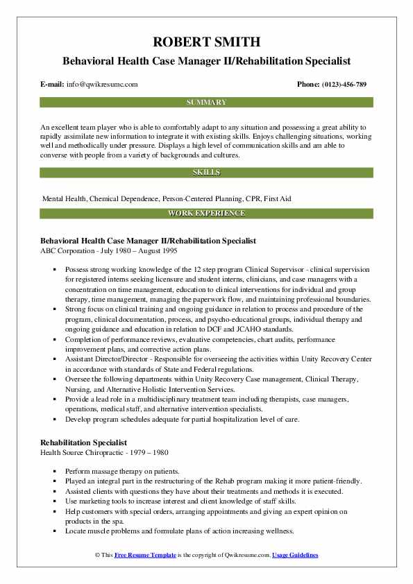 Behavioral Health Case Manager II/Rehabilitation Specialist Resume Sample