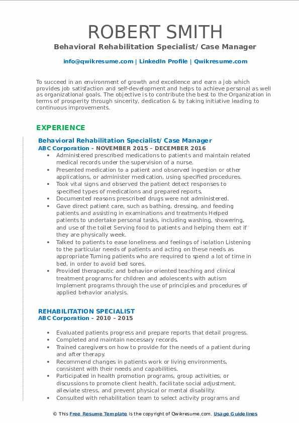 Behavioral Rehabilitation Specialist/ Case Manager Resume Template
