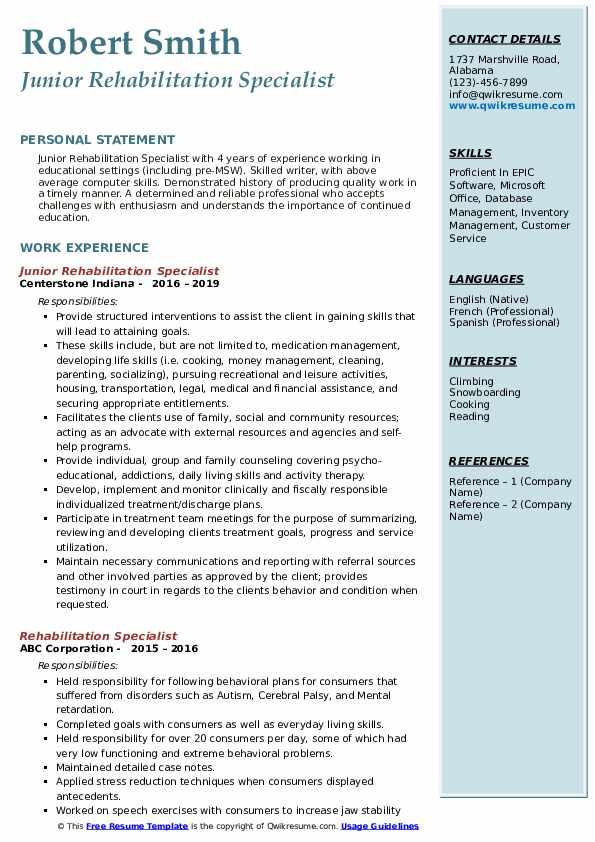 Junior Rehabilitation Specialist Resume Format
