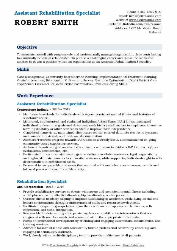 Assistant Rehabilitation Specialist Resume Example