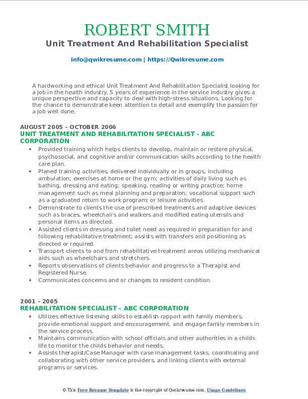 Unit Treatment And Rehabilitation Specialist Resume Model