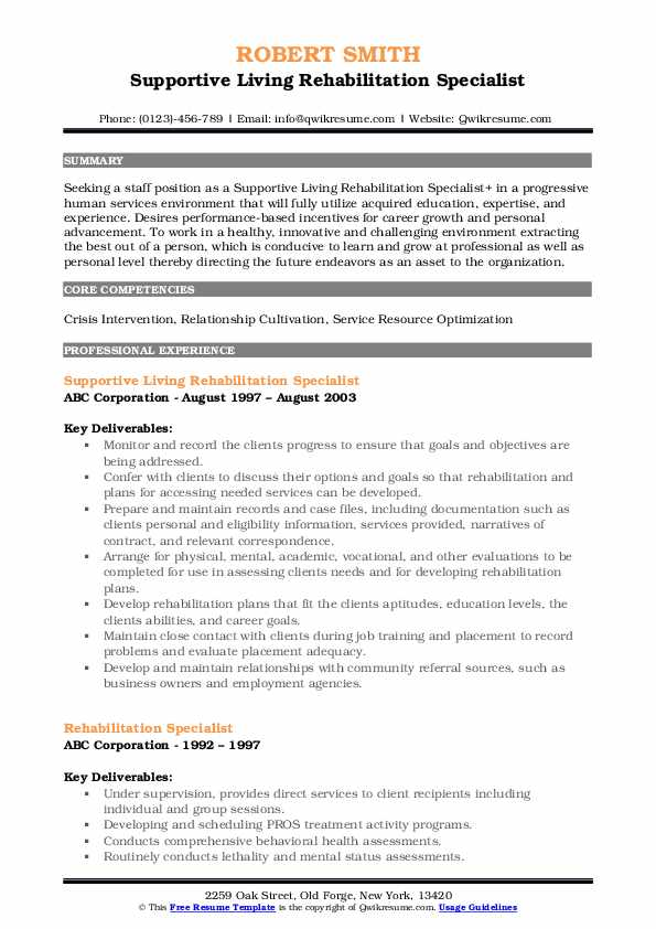 Supportive Living Rehabilitation Specialist Resume Sample