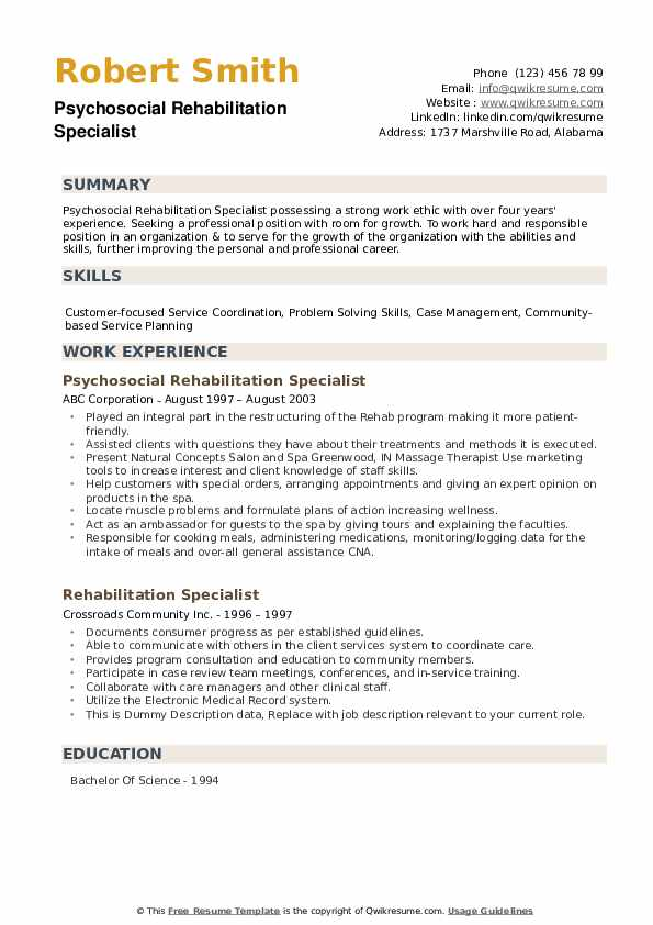 Psychosocial Rehabilitation Specialist Resume Format