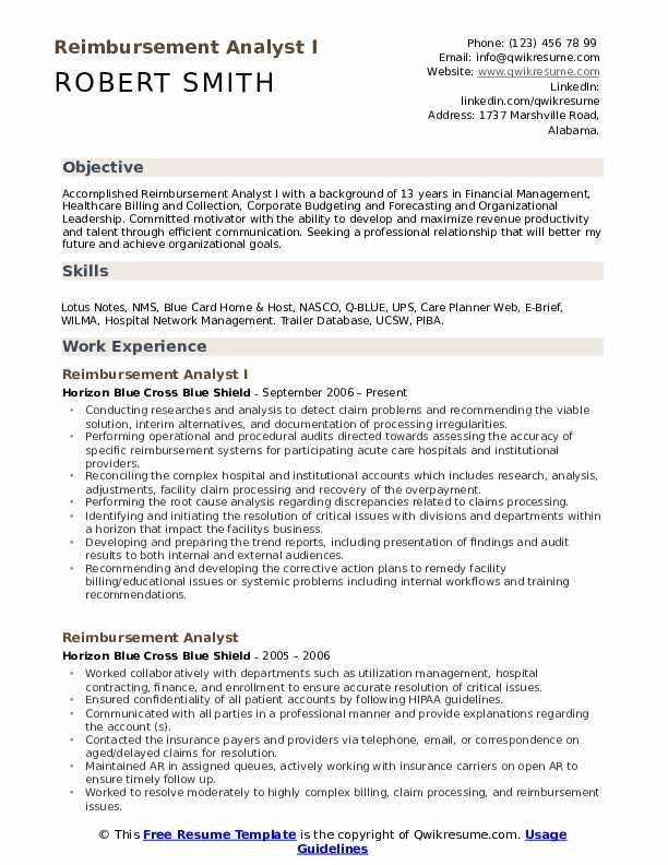 Reimbursement Analyst I Resume Model