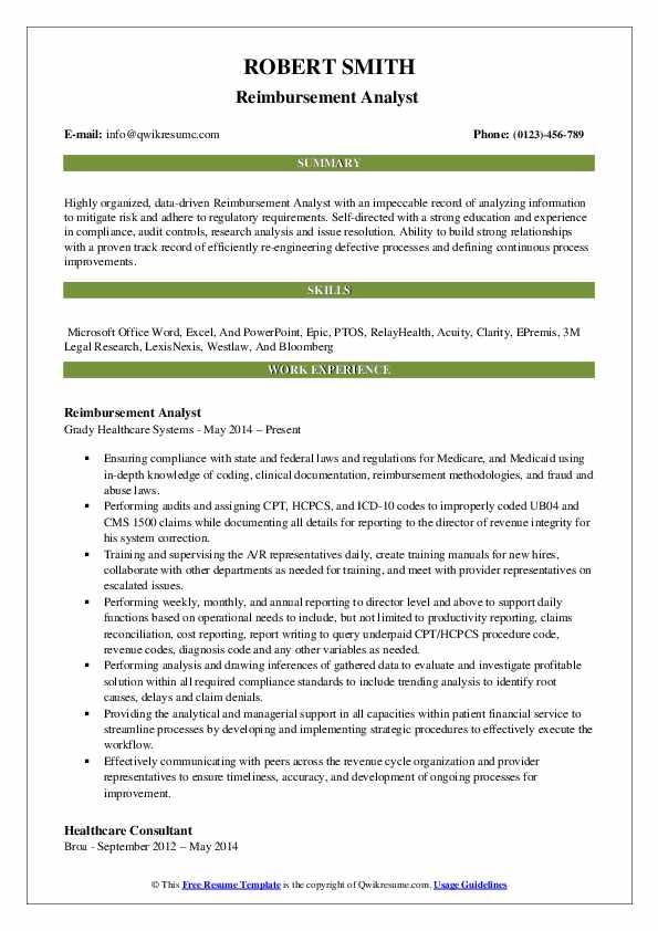 Reimbursement Analyst  Resume Template