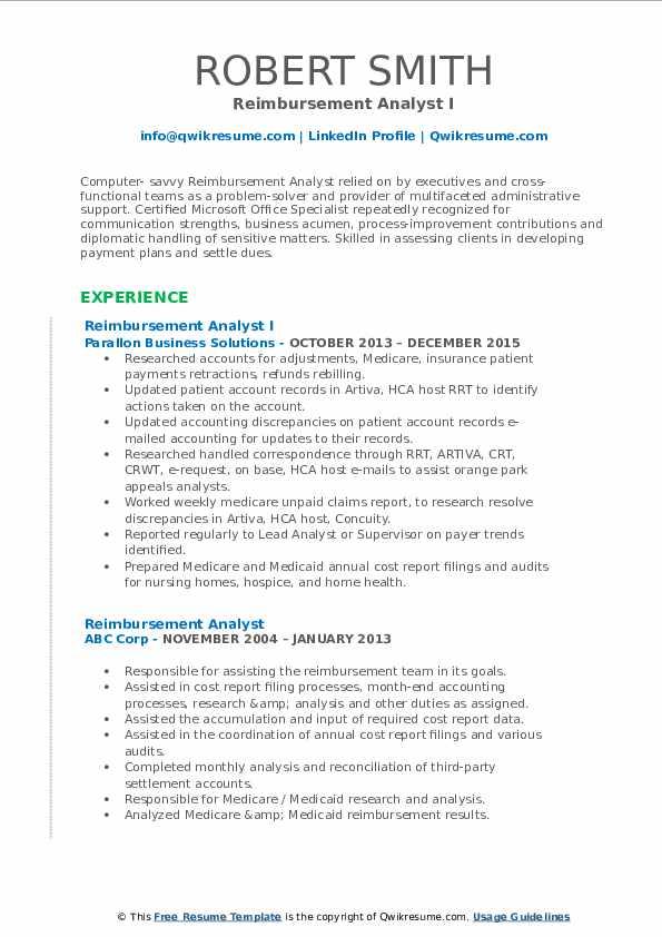 Reimbursement Analyst I Resume Format