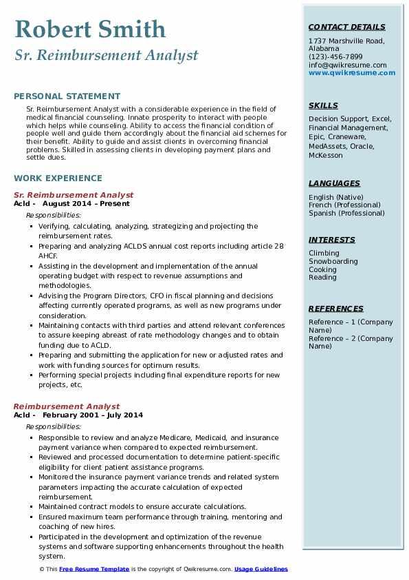 Sr. Reimbursement Analyst Resume Sample
