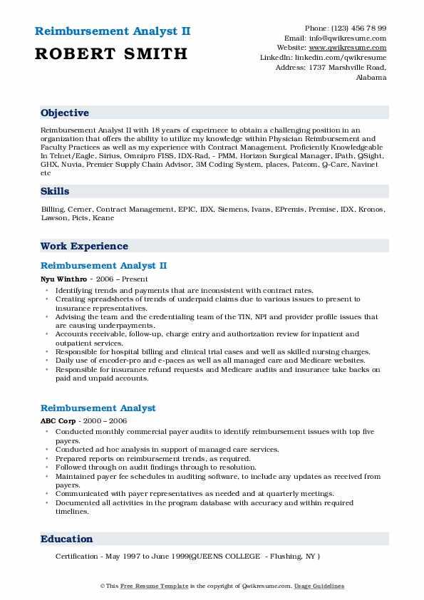 Reimbursement Analyst II Resume Example