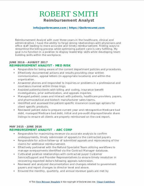 Reimbursement Analyst Resume Model