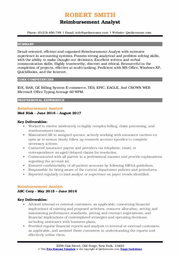 reimbursement analyst resume samples