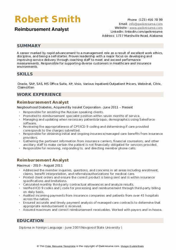 Reimbursement Analyst Resume example