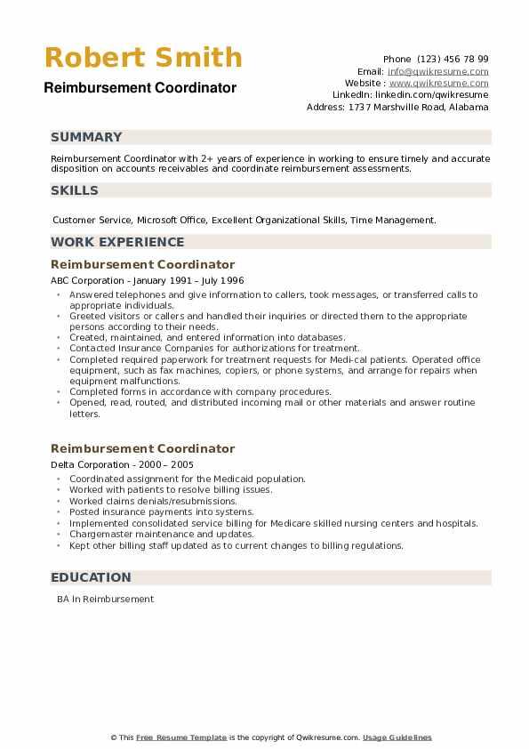 Reimbursement Coordinator Resume example