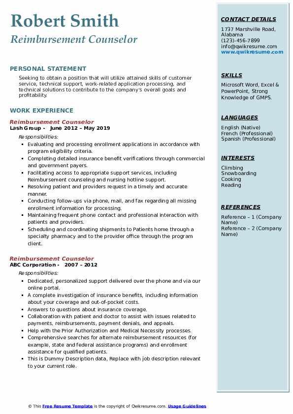 Reimbursement Counselor Resume example