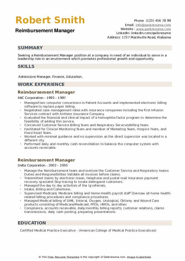 Reimbursement Manager Resume example