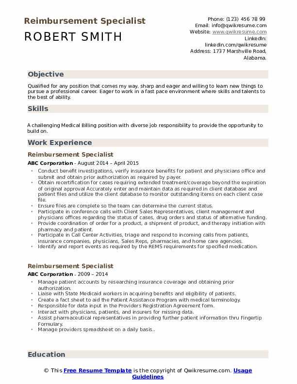 Reimbursement Specialist Resume Format