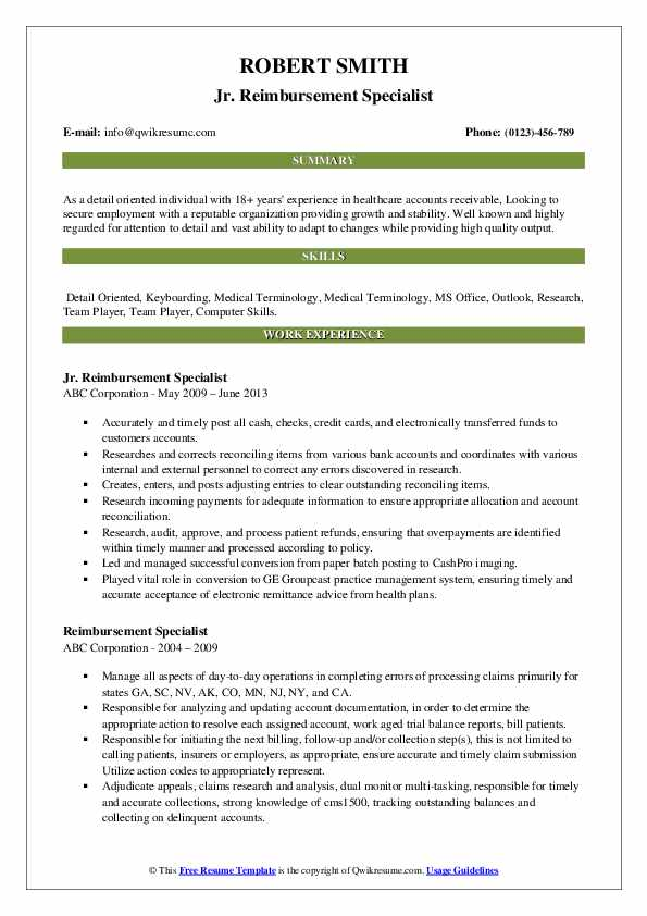 Jr. Reimbursement Specialist Resume Model