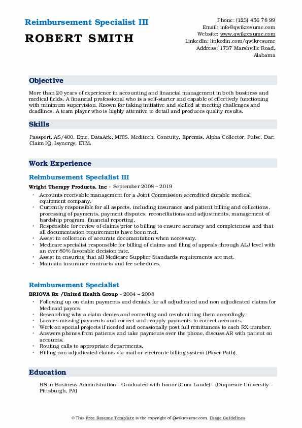 Reimbursement Specialist III Resume Model