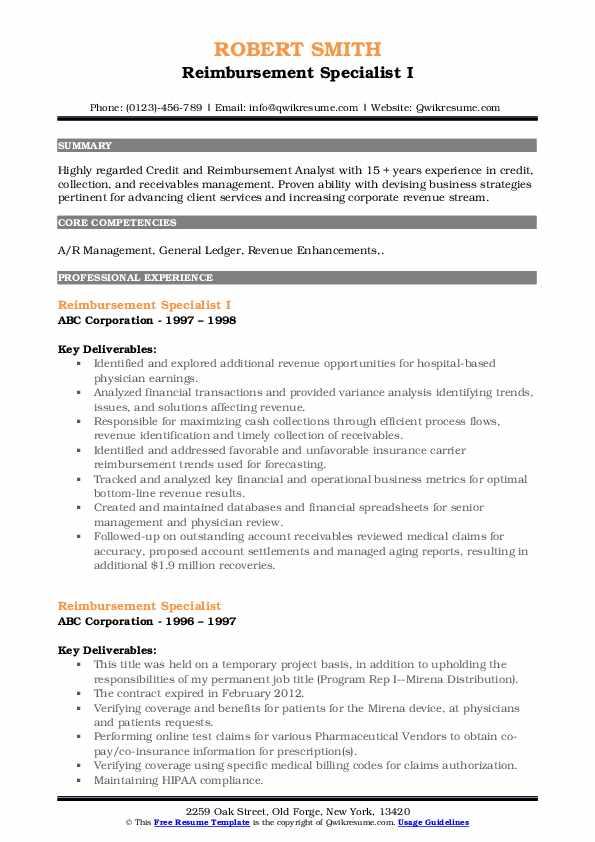 Reimbursement Specialist I Resume Format