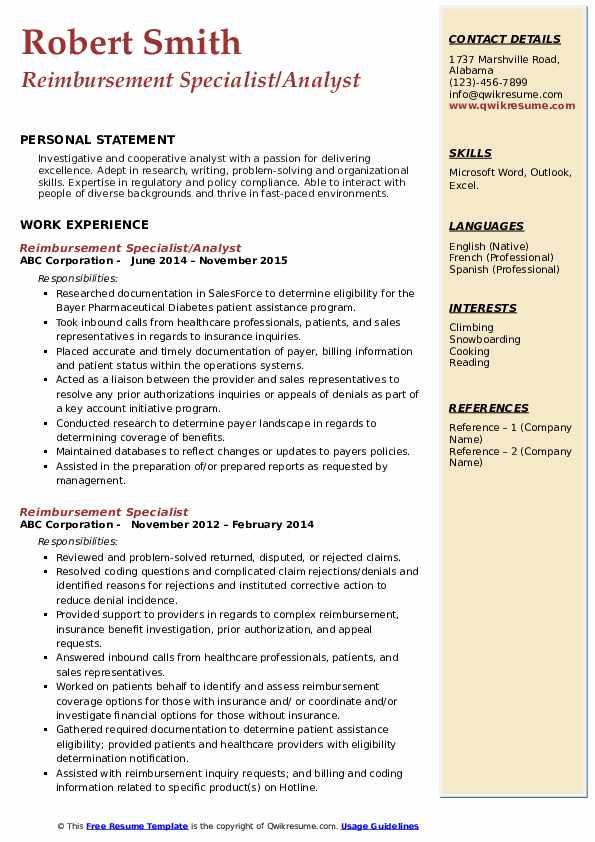Reimbursement Specialist/Analyst Resume Sample
