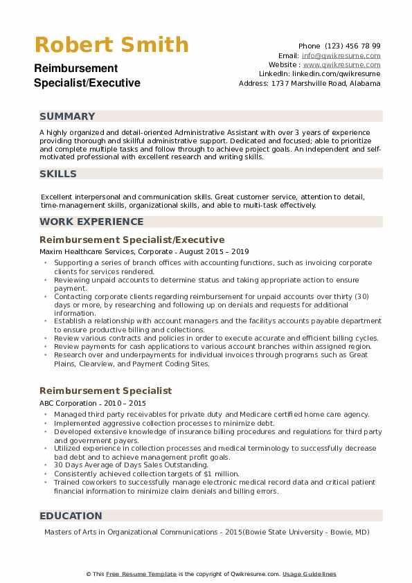 Reimbursement Specialist/Executive Resume Format