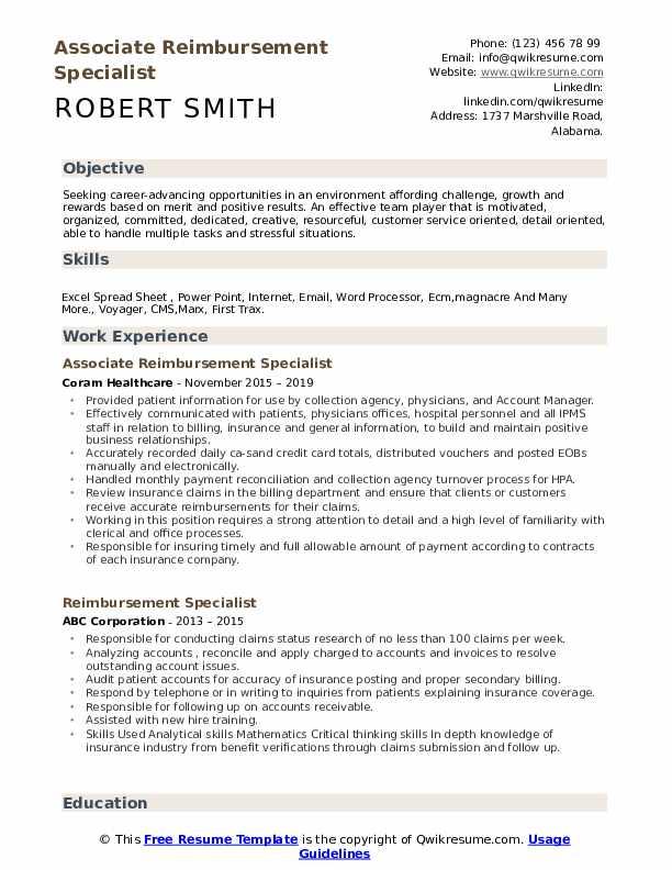 Associate Reimbursement Specialist Resume Sample