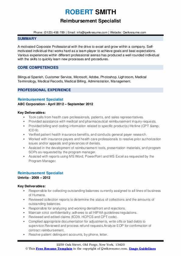 Reimbursement Specialist Resume example