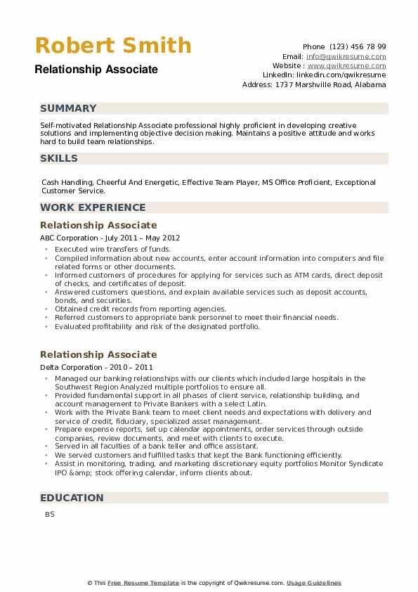 Relationship Associate Resume example