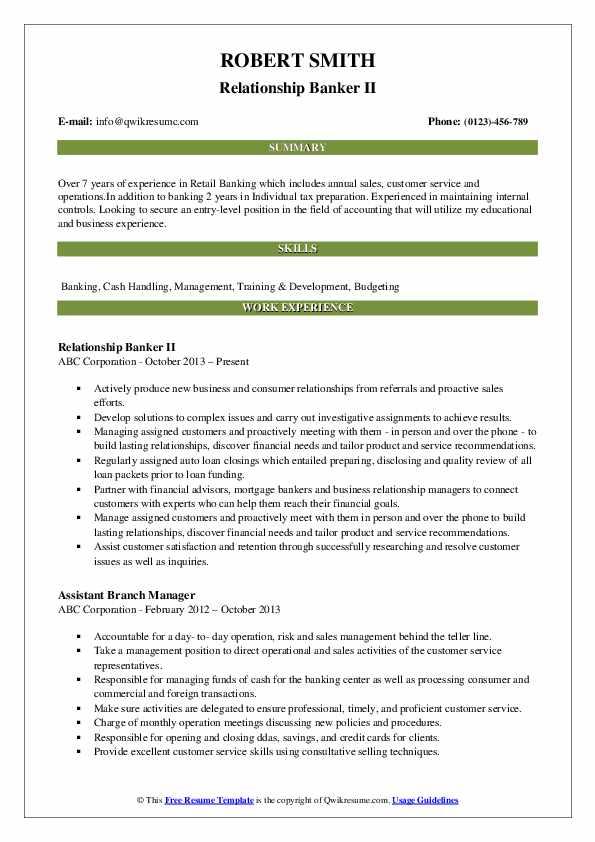 Relationship Banker II Resume Sample