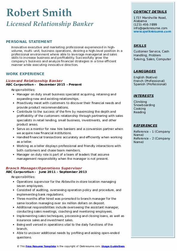Relationship Banker Resume Samples