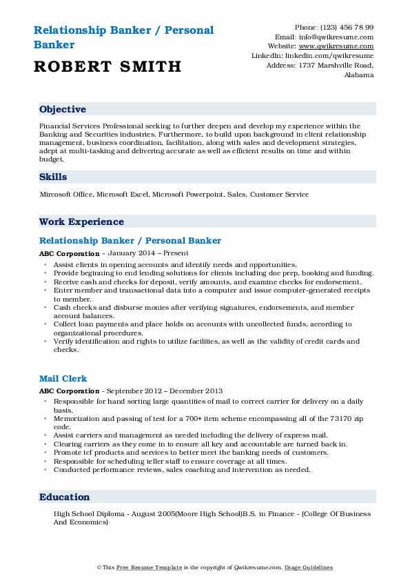Relationship Banker / Personal Banker Resume Sample