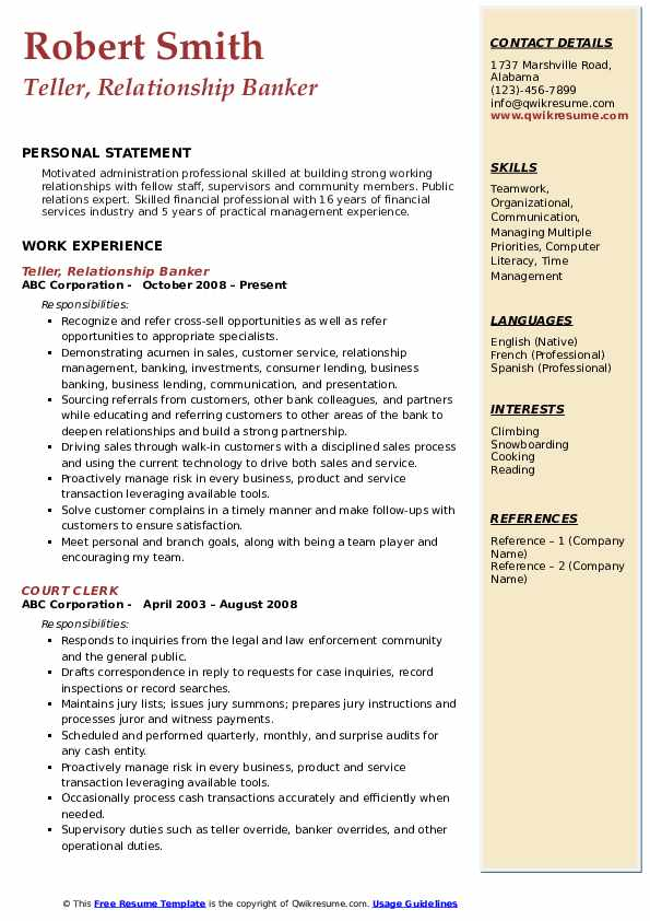 Teller, Relationship Banker Resume Format