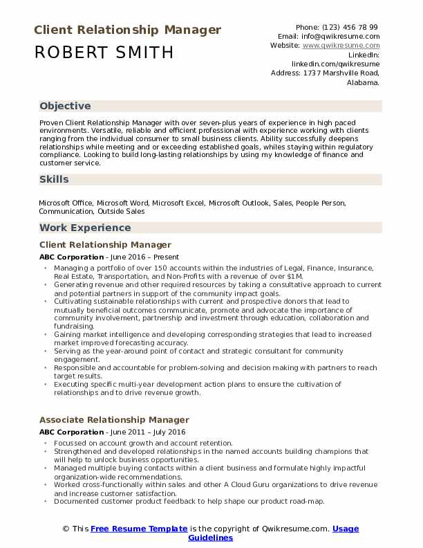 relationship manager resume samples