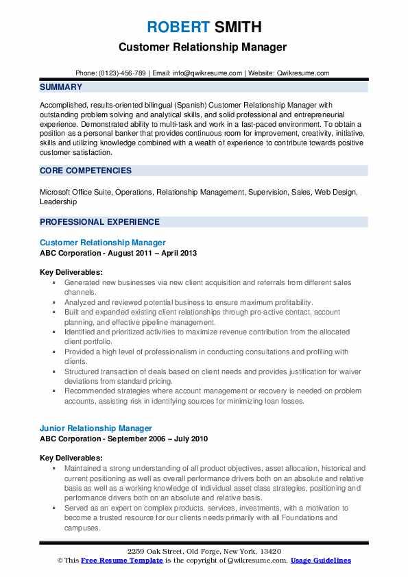 Customer Relationship Manager  Resume Model