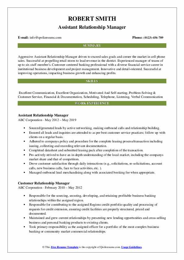 Assistant Relationship Manager Resume Format