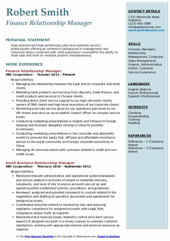 Finance Relationship Manager Resume Example