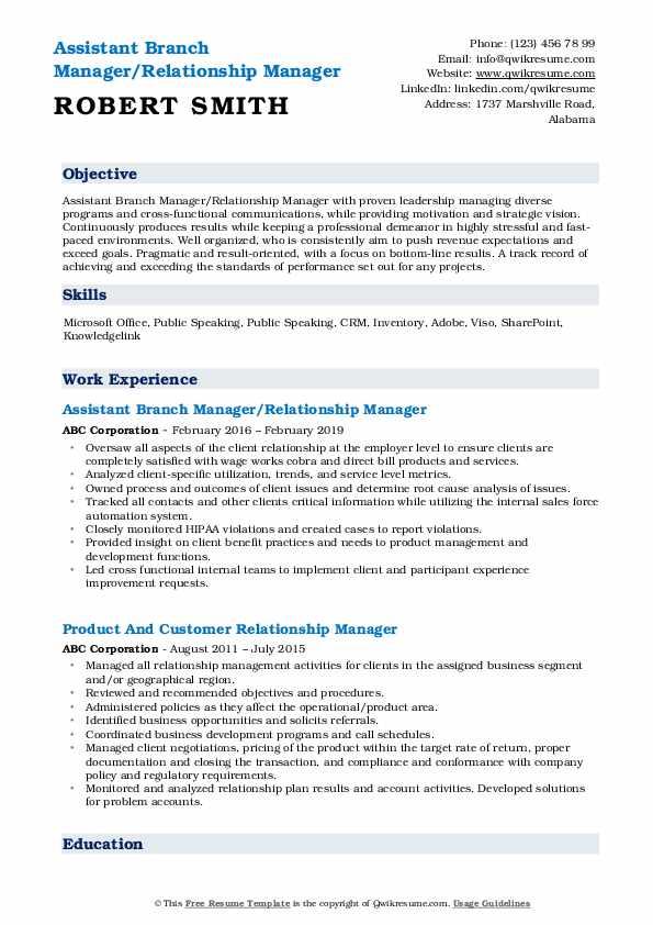 Assistant Branch Manager/Relationship Manager Resume Format