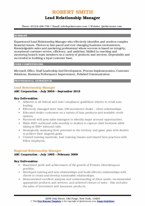 Lead Relationship Manager Resume Template
