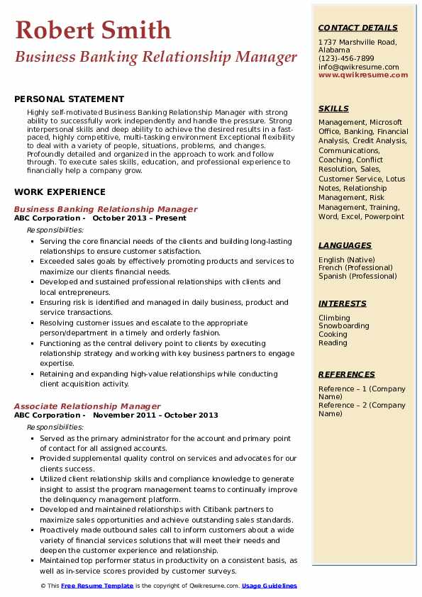 Business Banking Relationship Manager Resume Sample