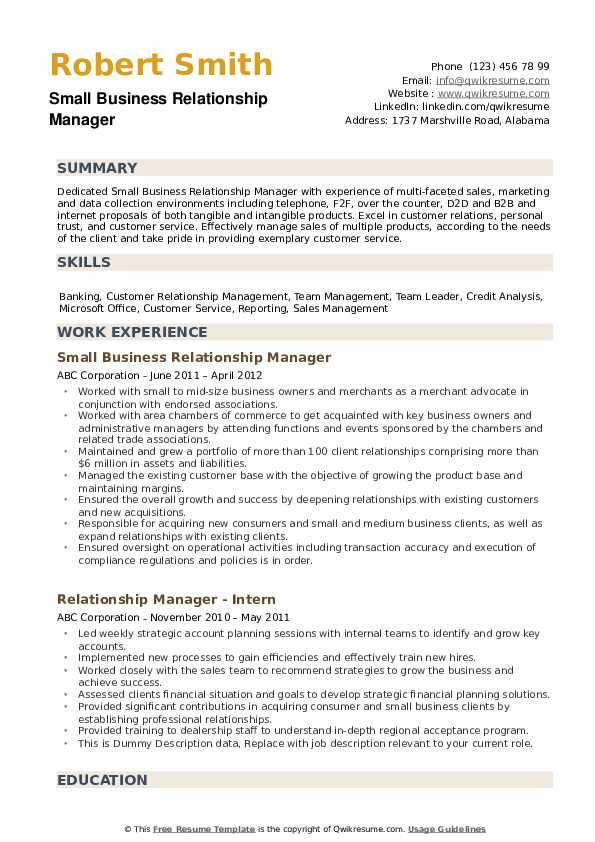 Relationship Manager Resume example