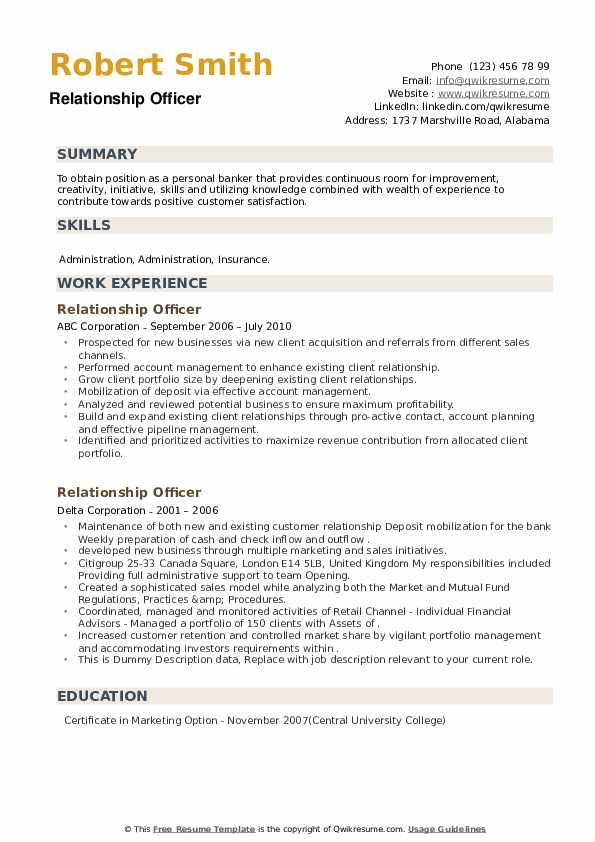Relationship Officer Resume example