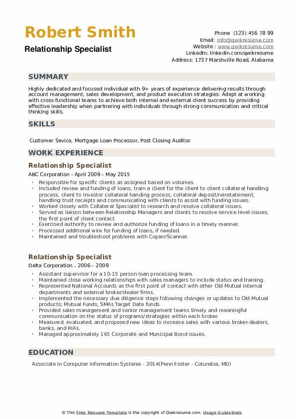 Relationship Specialist Resume example
