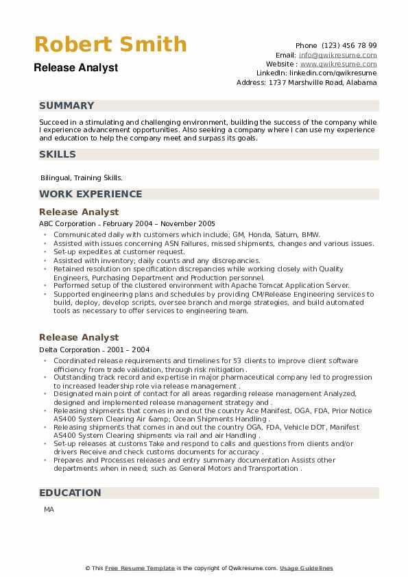Release Analyst Resume example