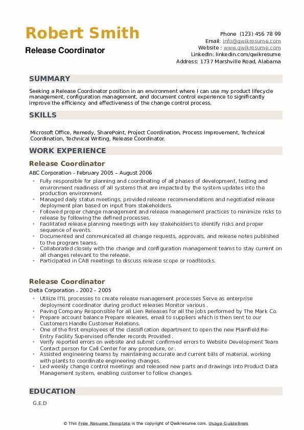 Release Coordinator Resume example