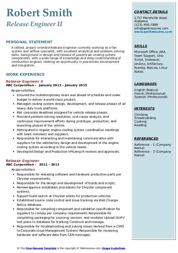 Release Engineer Resume Samples Qwikresume