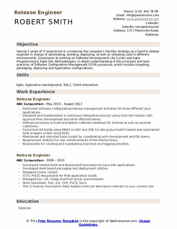 Release Engineer Resume example